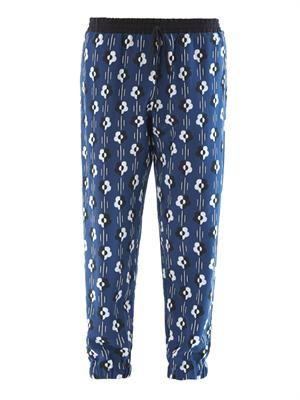 Flower-print silk trousers