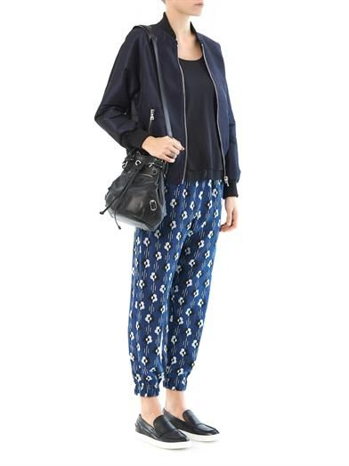 Lulu & Co Flower-print silk trousers