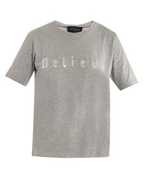Believe-print cotton T-shirt