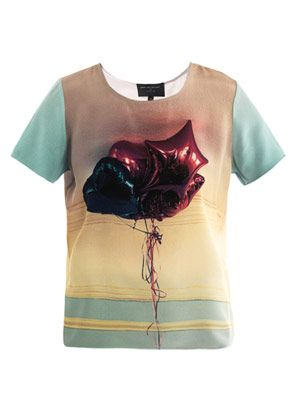 Balloon-print silk top
