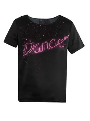 Dance-print silk top