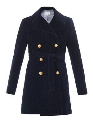 Furry tonal-leopard pea coat