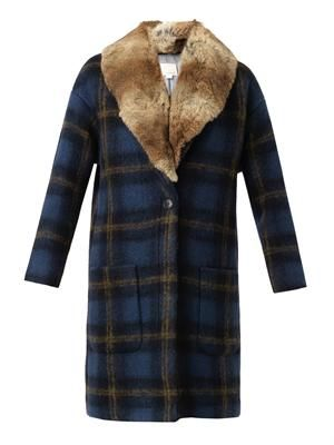 Windowpane check fur-trimmed coat