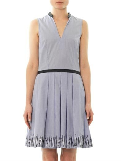 Band Of Outsiders Embroidered micro-stripe dress