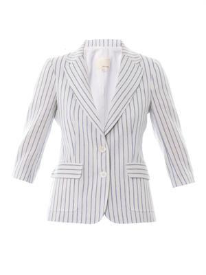 Striped linen-blend blazer