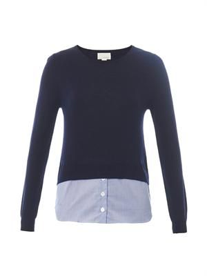 Shirt-hem cashmere-blend sweater