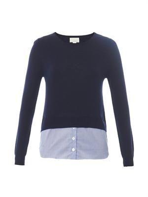 Shirt-hem cashmere-blend sweater