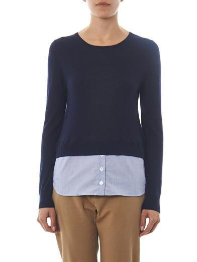 Band Of Outsiders Shirt-hem cashmere-blend sweater