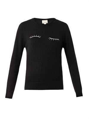 Eyelash-embroidered wool sweater
