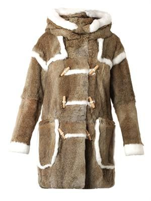 Hooded fur duffle coat