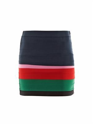 Colour-block body-con skirt