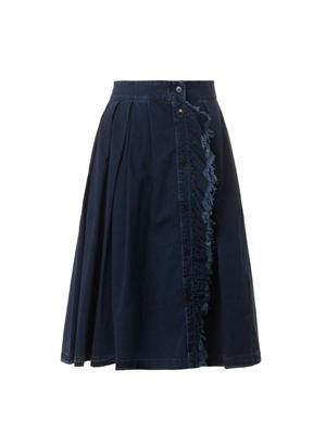 Ruffle-front pleated denim skirt