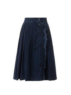 Ruffle-front pleated denim skirt