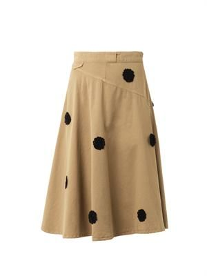 Floral appliqué chino skirt