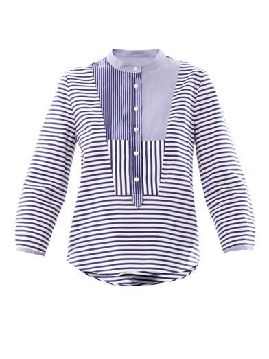 Band Of Outsiders Contrast-bib cotton shirt