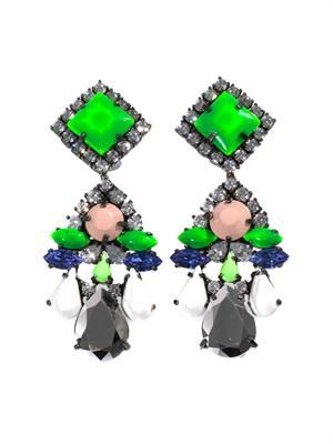 Square crystal-embellished earrings