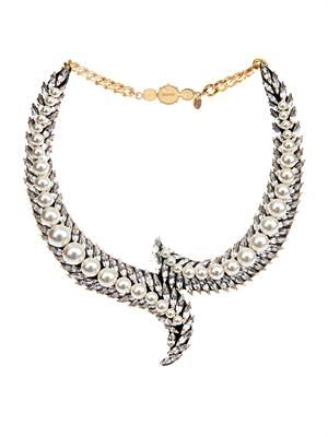 Piuma faux-pearl and crystal necklace