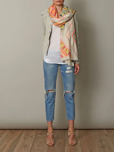 Janavi Hand-embroidered and beaded cashmere scarf