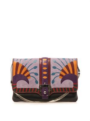 Sylvie leather and lizard clutch