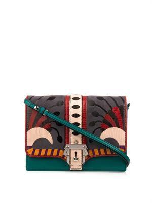 Tatiana leather and lizard shoulder bag