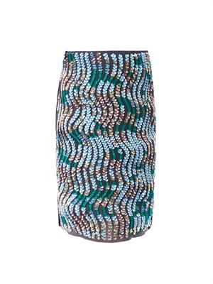 Wave sequin embellished pencil skirt