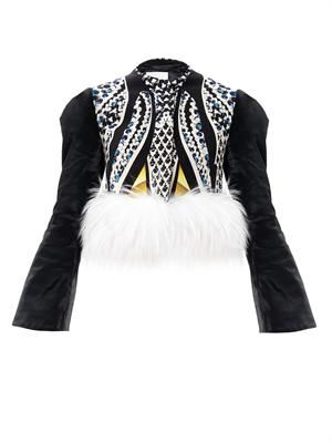 Ivy fur trim marble-print jacket