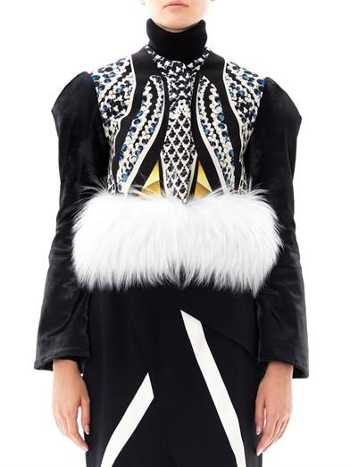 Peter Pilotto Ivy fur trim marble-print jacket