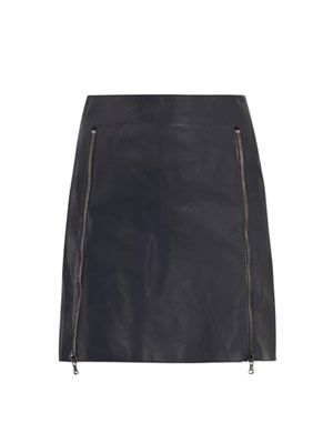 Zip front leather skirt