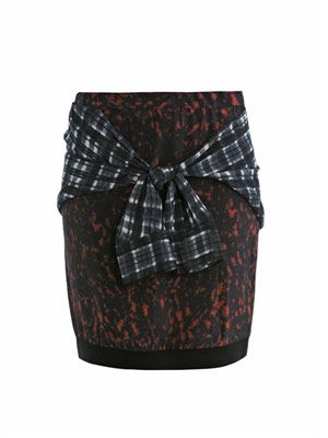 Shirt tie printed silk skirt