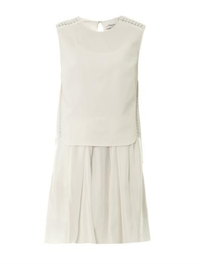 3.1 Phillip Lim Double layer leather-trim dress