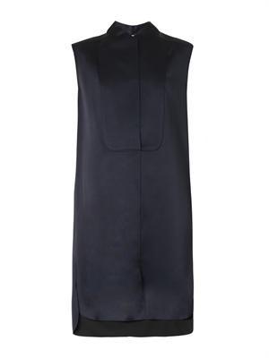 Bonded silk-satin sleeveless dress
