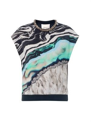 Marble geode-print sleeveless top