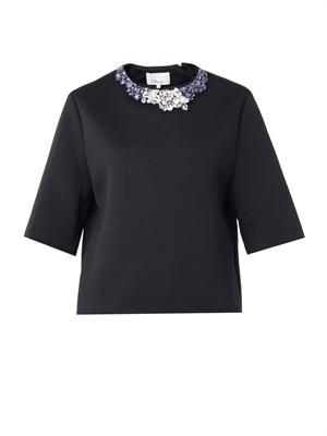 Embellished techno-jersey top