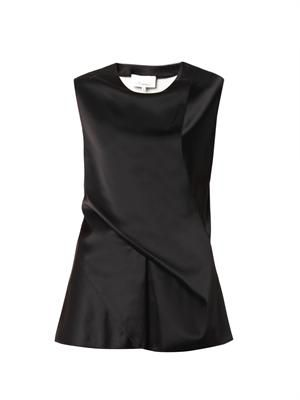 Drape-front satin blouse