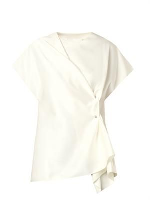 Draped-front satin blouse