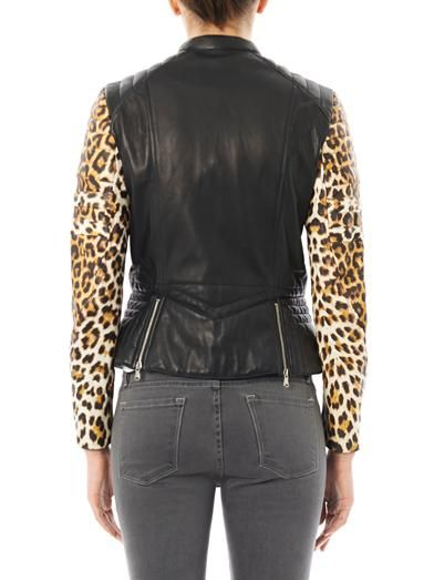 3.1 Phillip Lim Leopard-print sleeve leather biker jacket