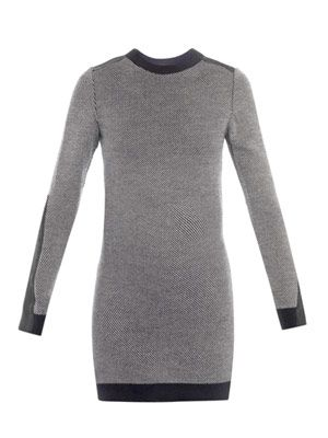 Tweed stitch and silk jumper dress