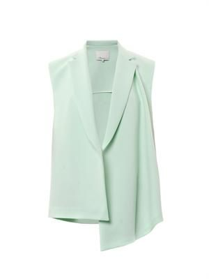 Double-crepe sleeveless jacket