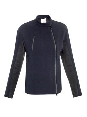 Fencing midnight wool-crepe jacket