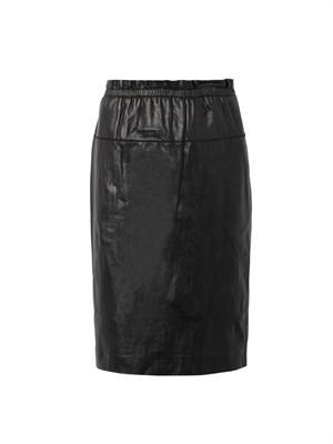 Leather paper-bag knee-length skirt