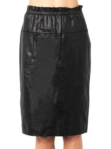 3.1 Phillip Lim Leather paper-bag knee-length skirt
