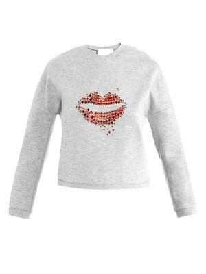 Lips embellished sweater