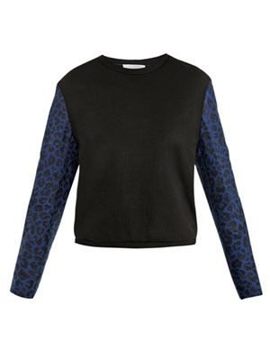 Leopard-sleeve sweat top