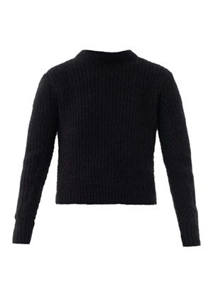 Angora ribbed knit sweater