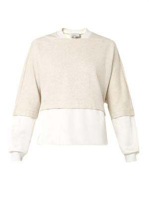 Satin-panel cotton-jersey sweatshirt