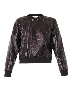 Crackle-coated sweatshirt