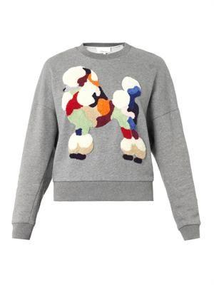 Embroidered-poodle sweatshirt