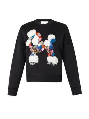 Poodle-embellished neoprene sweatshirt