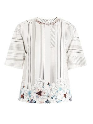 Watercolour flower embellished top