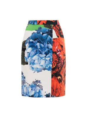 Grayson poppy-print pencil skirt